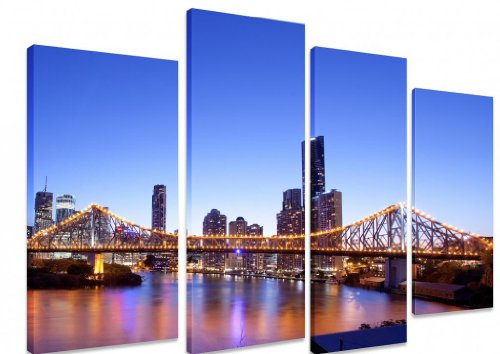 picture-multi-split-panel-canvas-artwork-art-brisbane-city-australia-night-blue-sky-bridge-lights-re