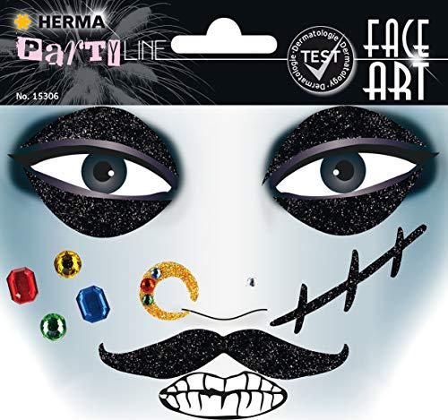 Sticker Pirat Gesicht Aufkleber Glitzer Sticker für Fasching, Karneval, Halloween, dermatologisch getestet ()