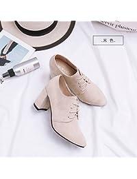 Jqdyl Tacones Early Spring High Heels Mujer gruesa con zapatos individuales con punta de color negro profundo...