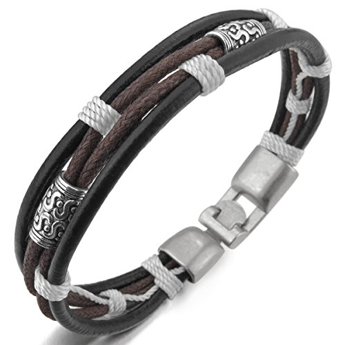 MunkiMix Metalllegierung Legierung Echtleder Armband Armreifen Seil Schwarz Silber Ton Braun Weiß Herren,Damen