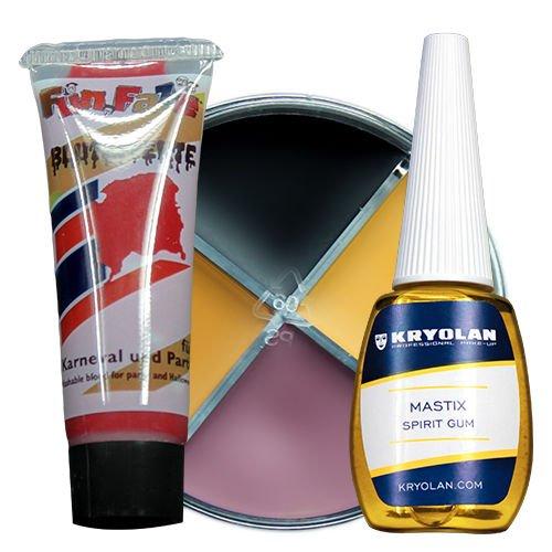 Latex Make-Up Set Schminkset für Fasching Zombie bestehend aus Kunstblut + Hautkleber + Make-Up; Topqualität zu Halloween und Fasching (Halloween Maks)