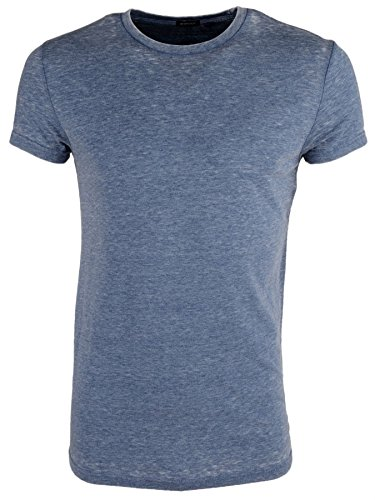 Brave Soul 'Gonzalo' Herren Vintage Burn Out Rundhalsausschnitt T-Shirt Dunkel Blau