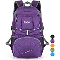 Bekahizar 35L Lightweight Backpack Foldable Hiking Rucksack Water Resistant Travel Daypack Bag for Outdoor Camping Cycling Traveling Trekking Day Trips