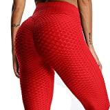 Mallas Pantalones Deportivos Leggings Mujer Yoga de Alta Cintura Elásticos y Transpirables para Yoga Running Fitness con Gran Elásticos1090 Rojo M