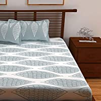 Story at Home 152 TC 100 % Cotton Queen Double Bedsheet with 2 Pillow Covers, Cream, 225 x 250 cm, MJ1414