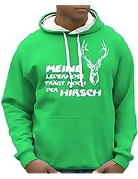 Meine Lederhose trägt noch der Hirsch - Oktoberfest Hoodie Wiesn Sweatshirt mit Kapuze - div. Farben Gr.S M L XL