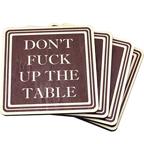 Birke-set Schreibtisch (Don 't Fuck Up der Tisch Holz Drink Untersetzer von Holz Schuh Designs-Set von 4)
