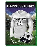 personalisierbar Fußball Mottoparty Geburtstag Karte, für–Dad–Mann–Sohn, Tochter, Mama–Leeds United Farben
