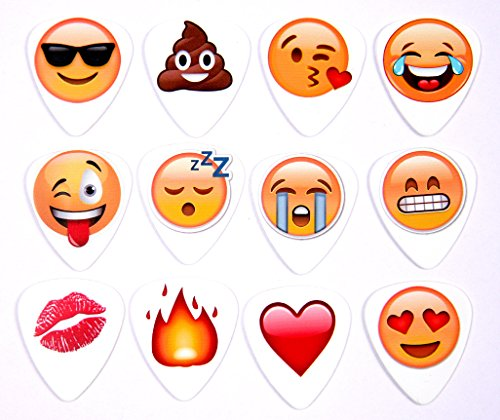 Emoji Packet von 12 Full Colour Gitarren Plektrum Plektren