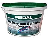 FEIDAL Küchen- und Badfarbe 10L, weisse Innenfarbe für Feuchträume