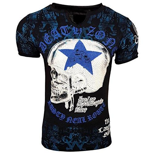 HERREN T-Shirts TShirt NEU Größe S M L M XL XXL RUNDHALS Totenkopf Skull RN15043 Schwarz