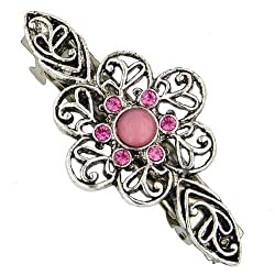 1928 Jewelry Silver-Tone Pink Crystal Flower Bar Barrette