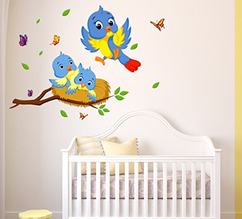 Buy Generic DIY Red Flowers Birds Nature Wall Stickers Vinyl