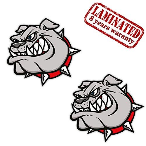 2 x Adesivi Vinile Stickers Autoadesivi Divertente Inglese Britannico Bulldog Cane Animale Arrabbiato Per Auto Finestrìno Porta Casco Scooter Bici Motociclo Portatile Viaggio Tuning B 140