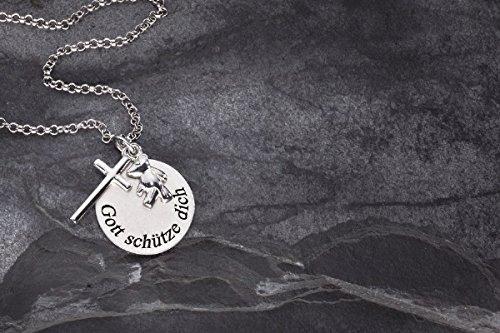 Taufschmuck aus 925er Sterling Silber 3-teiliger Anhänger mit Bärchen, Kreuz