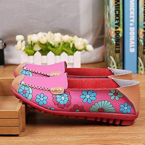 Evedaily Mocassins Femme Cuir Fleur Imprimé Chaussures Bateau Plates Tout-match Rose