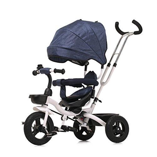 QWM-Baby bicyclettes enfants Tricycle Baby Carriage Bike Enfant Jouet Voiture Dossier Direction bilatérale 3 Titane Vides Bicyclette avec toit de protection, (Garçon / fille, 6 mois -5 ans) Cadeau pour enfants