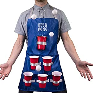 Fizz Creations 1592 Beer Pong - Delantal, Color Azul, Blanco y Rojo