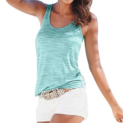Ba Zha HEI Frauen Sommer Spitze Weste Top Sleeveless beiläufige Tank Bluse Tops Damen Schulterfrei Weiches Material Ladies Sommer Elegant Chic Oberteil Locker Bluse Tops T-Shirt (Minzgrün, M)