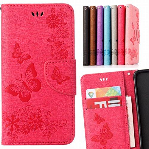 LEMORRY Hülle für Huawei Mate 9 Hülle Tasche Ledertasche Flip Beutel Haut Schutz Magnetisch Schließung SchutzHülle Weich Silikon Cover Schale für Huawei Mate 9, Lucky Butterfly Pink Pink Butterfly Handy