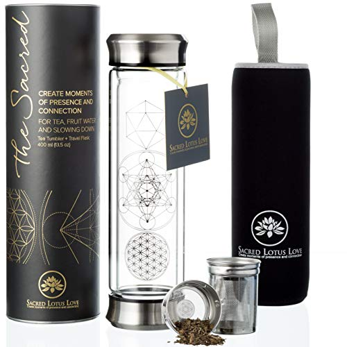 The Sacred Glass Tea Tumbler Bottle with Infuser and Strainer for Loose Leaf or Ice Tea. Cold Brew Coffee or Fruit Water Maker. 410ml Travel Bottle Mug