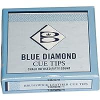 Brunswick Unisex Diamond Puntas de Palo de Billar, 9mm, Caja de 50, Color Azul