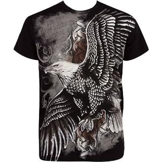 Sakkas fliegend Adler Metallic Silber geprägt Baumwolle Männer Mode T-Shirt - Schwarz/Medium