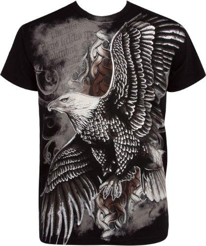 Sakkas fliegend Adler Metallic Silber geprägt Baumwolle Männer Mode T-Shirt- Schwarz/X-Large - Affliction T-shirt Aus Baumwolle
