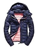 Superdry Steppjacke Women Fuji Slim Double Zip Hood Navy Marl, Größe:S