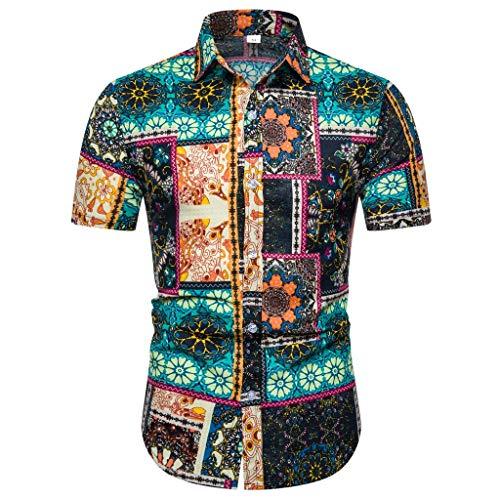 Herren Hemd Hawaiihemd Kurzarm 3D Gedruckt Freizeithemd Button Hemden Nicht verfärbend Beste für Sommerferien wie Party, Lager, BBQ, Strand, Surfen, Urlaub, Reise, Joggen -