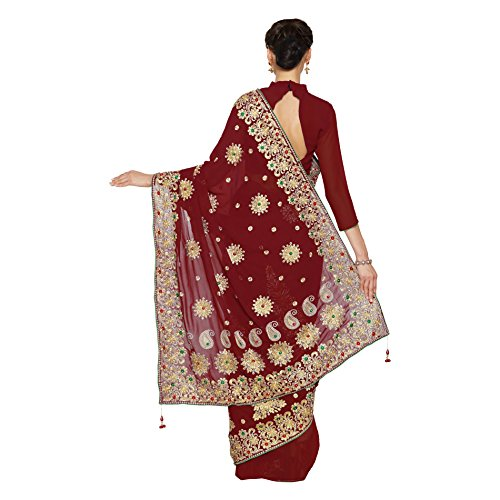 SOURBH Georgette Saree With Blouse Piece(2372_Maroon Free Size)