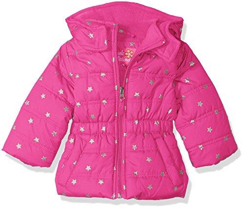 Pink Platinum Baby Girls' Infant Printed Foil Star Puffer Jacket, Bright Pink, 24 Months