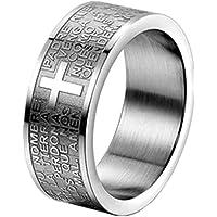 JewelryWe Gioielli Anello da Uomo Donna,Anello 8mm, Acciaio Inossidabile, Anello Banda Argento Inglese Bibbia Preghiera…