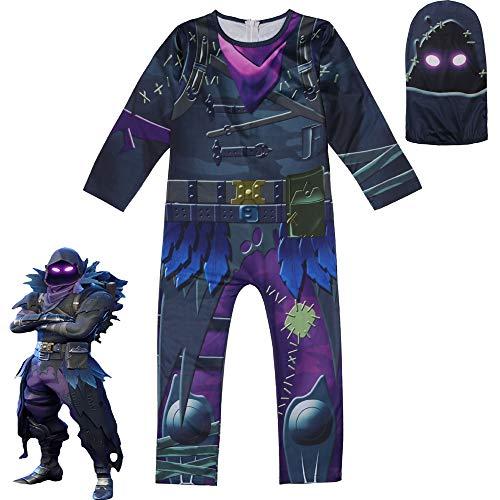 BaronHong Halloween Unisex Lycra Spandex Cosplay Kostüme Raven 3D Style (schwarz, 120cm)