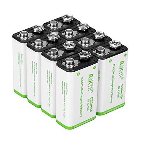 BAKTH 9V Erweiterte Li-Ionen Batterie 9 Volt 650mAh mit hoher