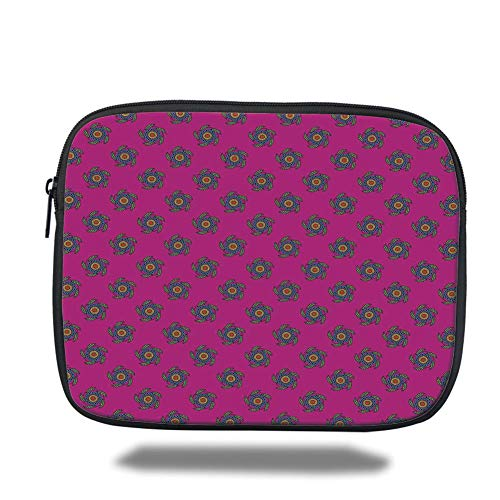 Pink Polka Sleeve (Laptop Sleeve Case,Ethnic,Windmill Inspired Flowers Made with Leaves Cicles and Polka Dots Art,Hot Pink Green and Blue,Tablet Bag for Ipad air 2/3/4/mini 9.7 inch)
