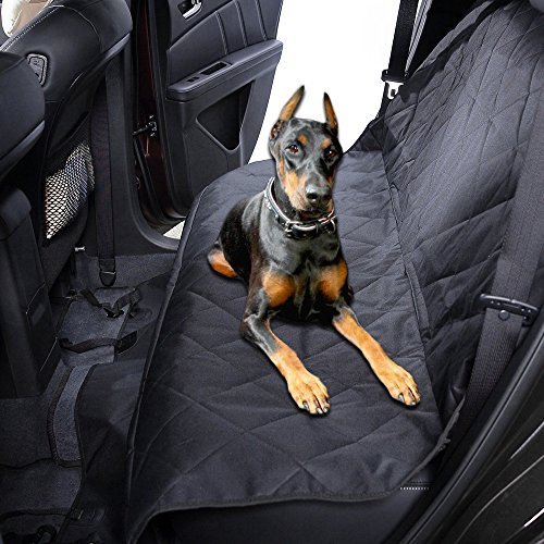 MKQPOWER Car Dog Seat Covers Black Pet Mat With Adjustable Seat Anchors, Waterproof & Machine Washable & Non-Slip Backing,Quilted, Padded Dog Hammock For All Cars Trucks SUV