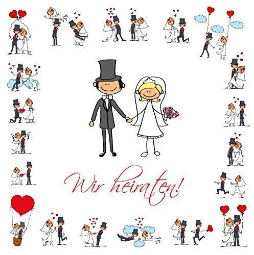 Lustige Einladungen zur Hochzeit, bestehend aus je 10 St. Hochzeitseinladungen + 10 passenden Briefumschlägen von EDITION COLIBRI © - umweltfreundlich, da klimaneutral gedruckt