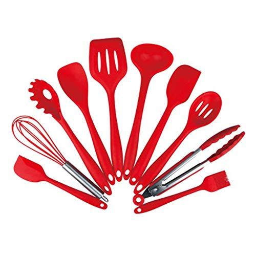 Silikon Küche Kochen 10 Stück Utensilien Hitzebeständige Nonstick Backen-Werkzeug-Set gehören Pasta Löffel, geschlitzten Löffel, Zangen, Schöpflöffel, Turner,Schneebesen ,Bastelpinsel, ,großer ...,Red (Werkzeug-sets Zangen Turner)
