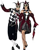 Coppia di costumi coordinati, da uomo e da donna, per travestimento da giullare/Arlecchino/clown, stile gotico/medievale, per Carnevale o Halloween