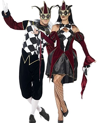 Couples Mens & Ladies Gothic Harlequin Court Jester Costumes Set