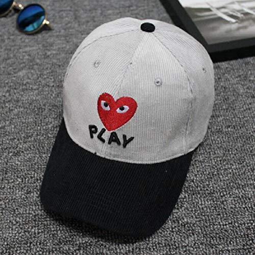 zhuzhuwen Baseballmütze Stickerei Herz Brief Waschlappen Samt Männer und Frauen Hip Hop Hut Ente Zunge Bogen Hut 3 einstellbar -