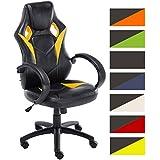 CLP Silla de oficina MAGNUS, con altura del asiento regulable entre 49-59 cm, tapizada en piel sintética, diseño deportivo, asiento, respaldo y reposabrazos acolchados, tapizado en varios colores amarillo