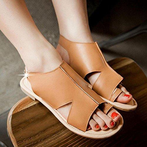 Peep Toe Sandales Chaussures talons d'été Talon plat Sandales grande taille 40 41 42 43 Yellow