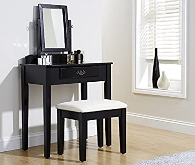 Dressing Table Set Black Padded Dresser Stool Fabric Adjustable Mirror & Drawer