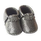 HAPPY CHERRY Suaves Zapatos Primeros Pasos Zapatitos sin Cordones Suela Antideslizante Mocasines para Bebés Niños Niñas 12-18 Meses Color Gris