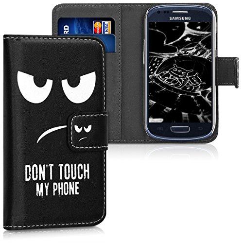 kwmobile Schutzhülle für Samsung Galaxy S3 Mini i8190 - aus hochwertigem Kunstleder mit Motiv Don't Touch My Phone - mit Kartenfächern