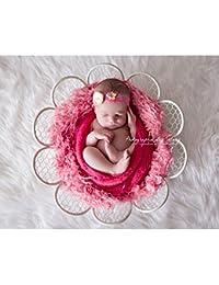 Contenant métal blanc, forme fleur pour posing bébé