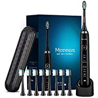 Sonic Electric toothbrush With Travel Case and 8 brush heads, 6 Hours Charge Minimum 30 Days, Use 5 Optional Modes, Adapt to Any USB Interface for Wireless Charging(Dark black)