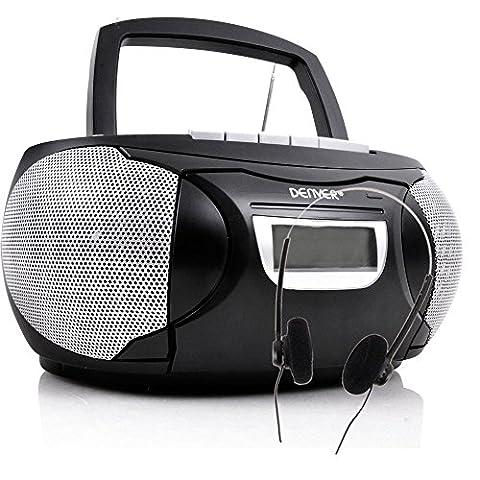 Stereo Musik Anlage CD-Radio AUX Kassettendeck Boombox schwarz im Set inklusive Kopfhörer
